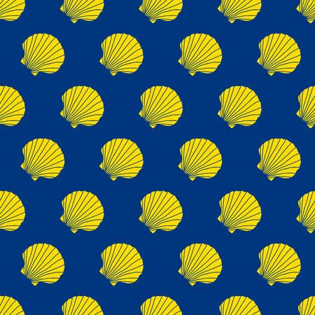 Gelbe Jakobsmuscheln auf dem blauen Hintergrund. Camino de Santiago Zeichen. Nahtlose Muster. Pilgernavigationszeichen. Symbol des Camino de Santiago in Spanien.