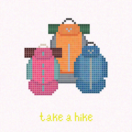 lightweight: Take a Hike! Trekking rucksacks. Pixel art banner. Family Backpacking with Lightweight Gear. Family set: Pink, blue and orange backpacks with sleeping pads. Outdoor Equipment. Colorful travel bags.