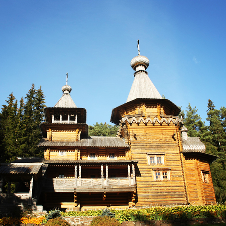 rebuilt: Prophet Elijahâs skete on Lembos Island. Valaam Monastery, Karelya. Aged photo. The rebuilt church. Beautiful churches of russian north.
