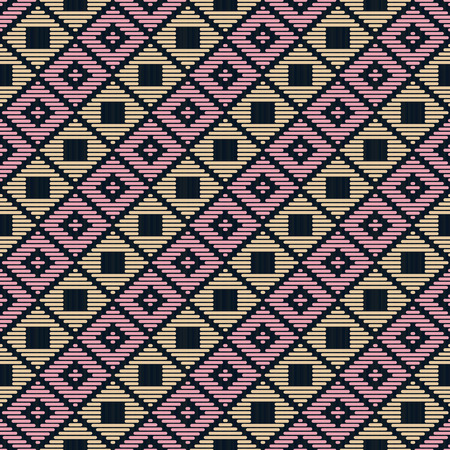 Abstract pattern. Japanese Kogin embroidery. Traditional ornament Ishi-datami. Geometric illustration. Simple asian ornament for a stitching. Contrast. Black background.