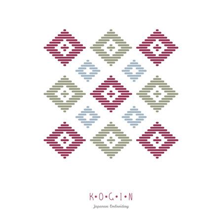 Text frame. Abstract. Japanese Kogin embroidery. Traditional pattern Hana-tsunagi. Abstract illustration. Simple geometric ornament.