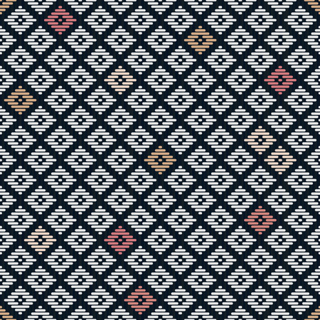 Seamless pattern. Japanese Kogin embroidery. Traditional ornament Hanako. Abstract illustration. Simple geometric ornament for a stitching. Contrast. Black background. Illustration
