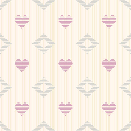 Pale romantic background with hearts. Seamless pattern. Abstract illustration. Simple ornament for valentine day. Delicate colors.