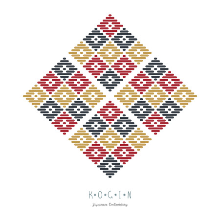 シンプルなイラスト。日本刺繍のスタイル。柄花子の組み合わせ。抽象的なイラスト。単純な幾何学的な装飾。