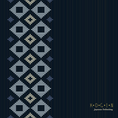 Copy space. Japanese Kogin embroidery. Abstract illustration. Simple geometric ornament. Can be used as seamless pattern. Black backgroud.