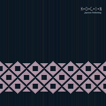 Card for text. Japanese Kogin embroidery. Abstract illustration. Simple geometric ornament. Can be used as seamless pattern. Black backgroud. Illustration