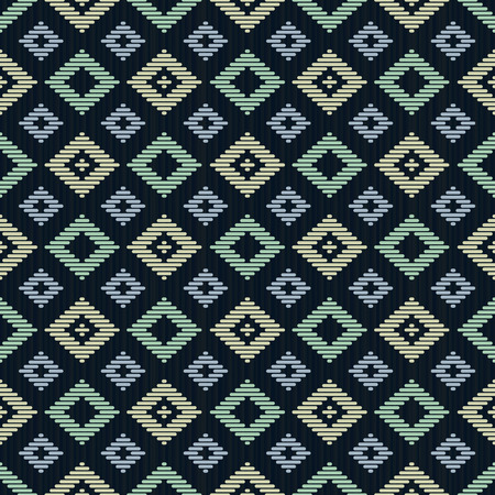 Seamless background. Japanese Kogin embroidery. Abstract pattern. Traditional ornaments Hanako and Mameko. Geometric illustration. Simple asian ornament for stitching. Contrast. Black background.