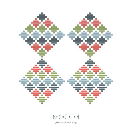 抽象的なイラスト。日本興銀刺繍。Kacharazu の伝統的な模様の組み合わせ。テキストのフレーム。単純な幾何学的な装飾。