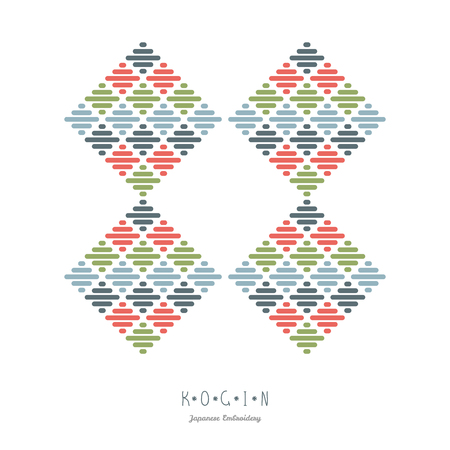 Abstract illustration. Japanese Kogin embroidery. Combination of Traditional pattern Kacharazu. Frame for text. Simple geometric ornament. Illustration