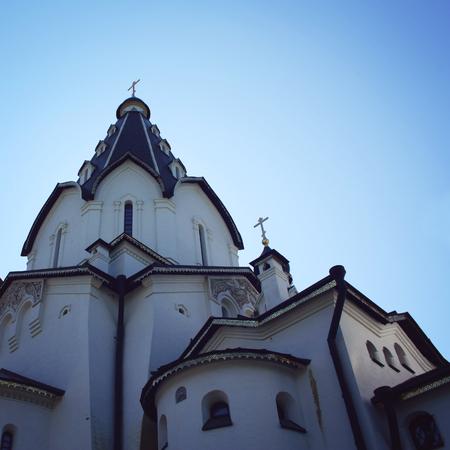 monastic: St. Vladimirs church. Aged photo. A point of view shot. Island Valaam. Beautiful churches. Vladimirsky Skete. Valaam island, Russia. Stock Photo