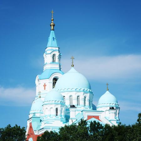Spaso-Preobrazhensky Cathedral of Valaam Monastery. Sunny summer day. Aged photo.  Island of Valaam, Republic of Karelya, Russia. Stock Photo