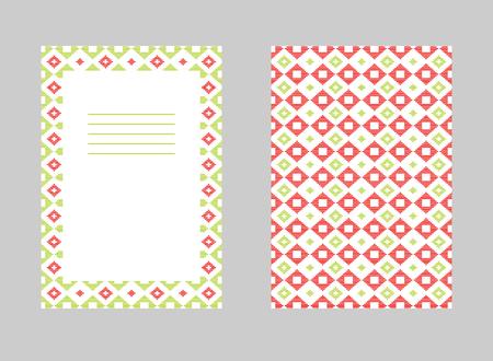 こぎん刺繍のポストカード。抽象的なイラスト。日本のキルトのモチーフ。テキストのフレーム。単純な幾何学的な装飾。
