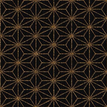Seamless pattern based on japanese sashiko. Hemp leaf motif - Tobi asa-no-ha. Golden color. Abstract geometric texture. Plain backdrop for decoration, wallpaper or web-page background.