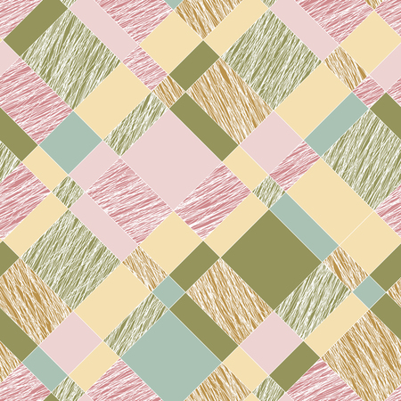 Scratched plaid texture. Seamless pattern. Colorful abstract tartan. Pink and green scratched waves. Plaid grunge texture. For wallpaper, web page background or pattern fills.  イラスト・ベクター素材