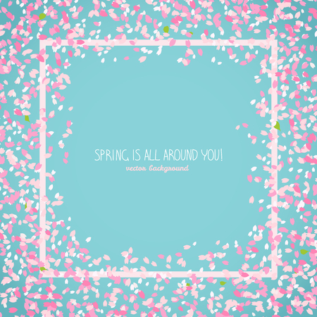 Spring is all around you. Japanese sakura flyer. Romantic poster with flowers. Simple text frame with border. Floral scatter. Hanami. Japanese Culture. Copy space. Illustration