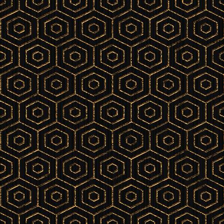日本の刺し子をモチーフに基づくシームレスなパターン。抽象的な幾何学的な背景。黄金色。Web ページの背景、テクスチャ、またはパターンのシンプルなパターンで埋めます。 写真素材 - 85064596