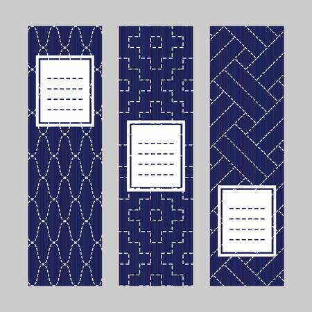 垂直バナー セット。刺し子刺繍飾り。抽象的なテクスチャです。伝統的な日本の縫製技術。チラシのセットです。藍と白の色です。招待状、はがき  イラスト・ベクター素材