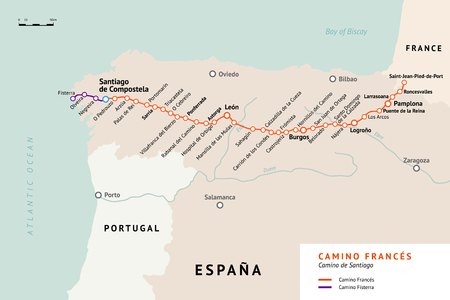 French Way map. Camino De Santiago or The Way of St.James. France. Ancient pilgrimage path to the Santiago de Compostela on the north of Spain.