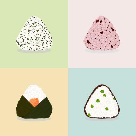 おにぎりの 4 種類。もち米ボール。日本の料理。イラスト。ランチ。わかめの海藻。アズキ (赤飯)。鮭とワカメ。グリーン ピースと海苔。シームレ