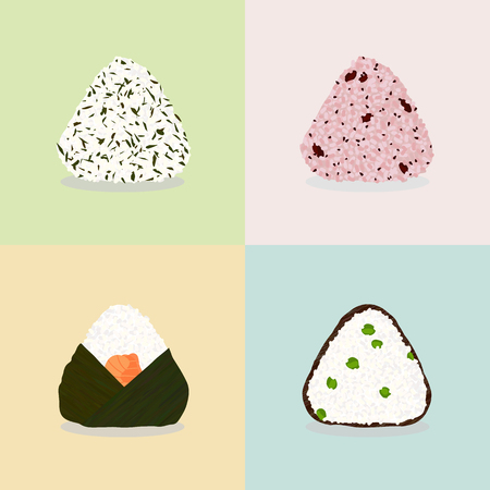 Four types of onigiri. Sticky rice balls. Japanese cuisine. Illustration. Lunch. Wakame seaweeds. Adzuki beans (Sekihan). With salmon and wakame. Green peas and nori. Can be used as seamless pattern.