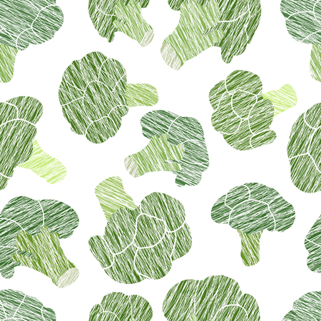 Green broccoli texture. Scratched seamless pattern. Healthy lifestyle. Vegetarian background. Cabbage type. Hand drawn vegetable texture. Vegan food.