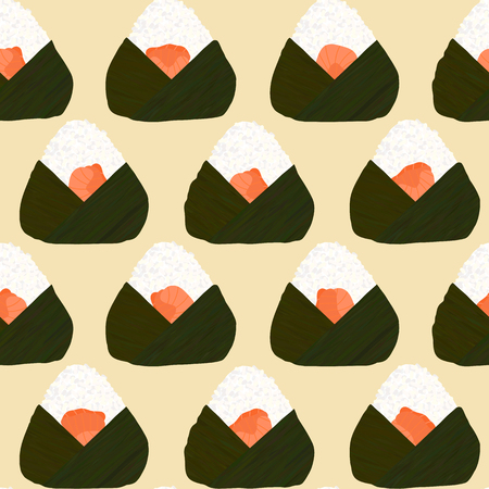 Onigiri seamless pattern. Filled with salmon. Asian snacks wrapped in seaweeds. Pescatarian dish. Sticky rice balls. Japanese cuisine. Illustration. Lunch background. Illustration