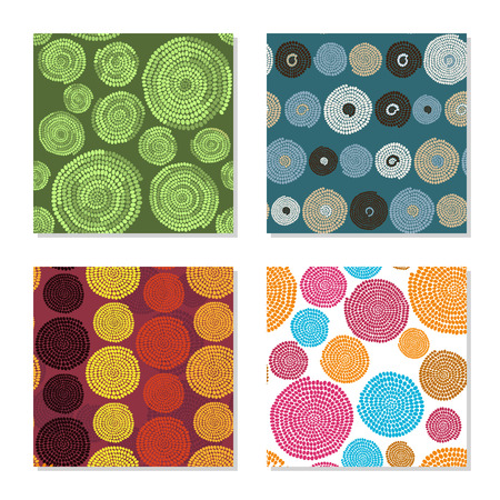 Four simple backgrounds. Seamless patterns. Colorful dots and circles. Plain abstract textures. For decoration, wallpaper or pattern fills. Illustration