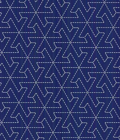定型化された花のモチーフに日本の刺し子。シームレス パターン。伝統的な日本刺繍の飾り。抽象的な背景。装飾または布で印刷。藍色の背景。 写真素材 - 85657658