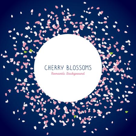 テキストの単純なロマンチックなフレーム。咲く桜の花びら。桜の花びら。春のチラシ。花見。日本のテーマです。散布図です。暗い青色の背景。  イラスト・ベクター素材