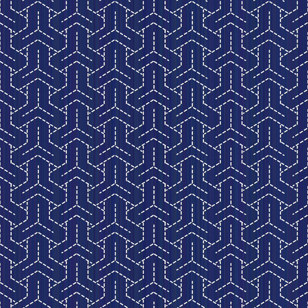 Classic japanese quilling. Bishamon-Kikko Sashiko motif. Seamless pattern. Abstract backdrop. Geometric background. Needlework texture. Pattern fills. For decoration or printing on fabric. Illustration