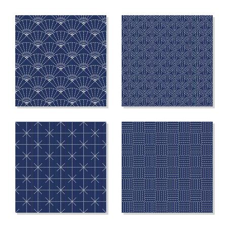 4 つのシンプルな背景。日本の刺し子のモチーフ。シームレス パターン。藍のラインとステッチ。プレーンの抽象的なテクスチャ。装飾のための壁紙やパターンで塗りつぶします。 写真素材 - 88084278