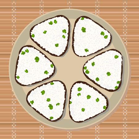 グリーン ピースとおにぎり。三角おにぎりは、海苔で包まれました。イラスト。日本の料理。ランチのテクスチャです。日本の竹マットの上アジアおやつプレート。 写真素材 - 88084284