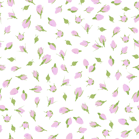 Pink rosebuds seamless pattern. Romantic theme. Floral ornament. Small rose flowers on the white background. For web site decoration, wallpaper or pattern fills. Ilustração Vetorial