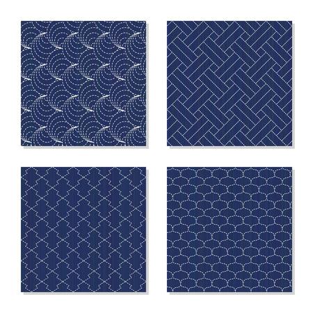 刺し子。シームレス パターン。抽象的なテクスチャのセットです。日本のモチーフ。4 つの簡単な背景 - シェル、松の樹皮、スケールを釣り、織り