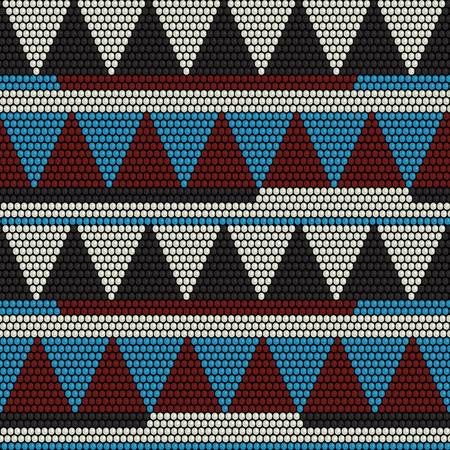 African bead motifs. Abstract seamless pattern. Contrast colors. Beadwork. Mosaic texture for handiwork, backdrop or pattern fills.