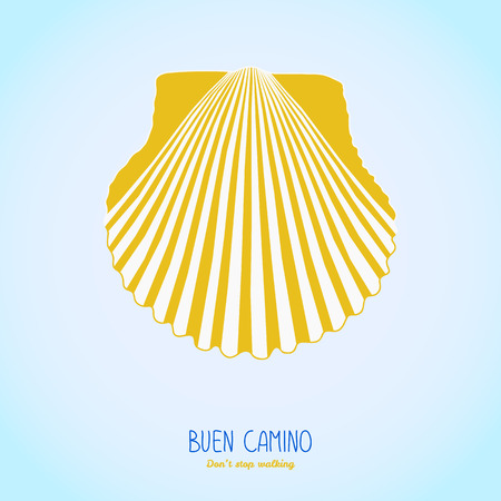 Yellow scallop shell. Symbol of the Camino de Santiago in Spain. Buen Camino! Don't stop walking. Poster or flyer. White background. Pilgrim's navigation sign. Иллюстрация