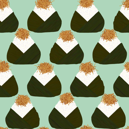 Onigiri Topped with small fry fish. Seamless pattern. Japanese cuisine. Japanese rice balls wrapped with nori seaweed. Pescatarian snack. Lunch background.  イラスト・ベクター素材