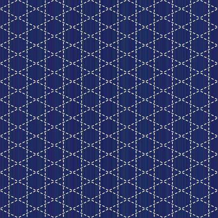 サシコモチーフシームレスパターン。ニードルワークテクスチャの抽象的な織り背景。