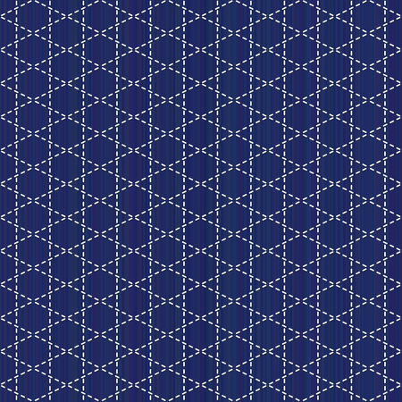 Sashiko motif Seamless pattern. Abstract weaving backdrop in Needlework texture.
