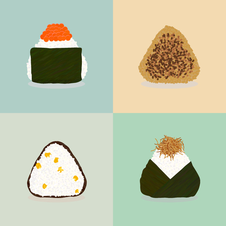 Four types of onigiri. Sticky rice balls Japanese cuisine Illustration: Topped with salmon roe. Fried with soy sauce. Sweet corn. Topped with small fry fish. Can be used as seamless pattern. Illustration