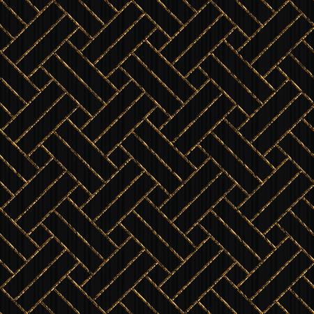 波状のアジアのモチーフ。日本のサシコをベースにしたシームレスなパターン。黒い背景に金色の装飾が引っかき傷。