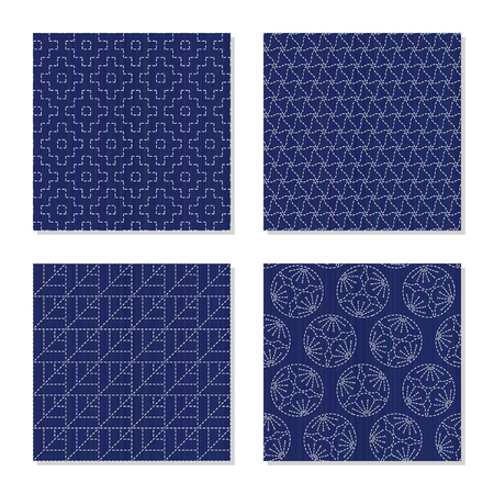 Four simple textures. Japanese sashiko motifs. Abstract Seamless patterns. White stitches on the indigo blue background. For decoration, wallpaper or pattern fills.