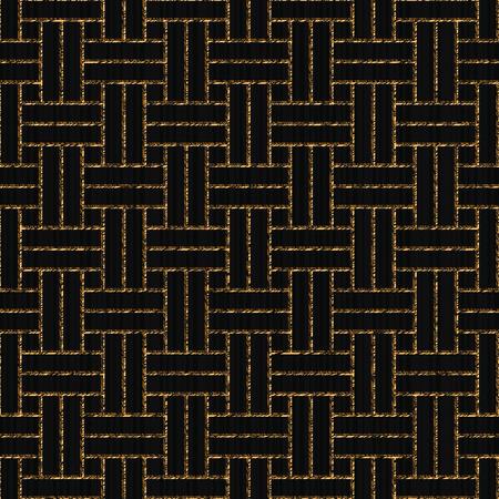 スクラッチ織り、アジアの装飾、日本のサシコに基づくシームレスなパターン、黒の背景に黄金のモチーフ、装飾、壁紙や表面のテクスチャのための抽象的な幾何学的背景。 写真素材 - 91883493