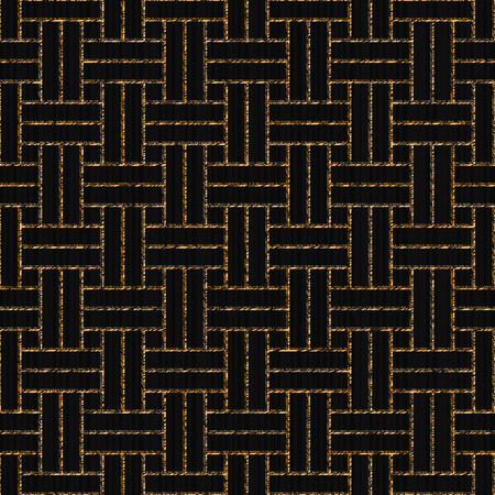 Scratched weaving, Asian ornament, Seamless pattern based on japanese sashiko, Golden motif on the black background, Abstract geometric backdrop For decoration, wallpaper or surface textures.