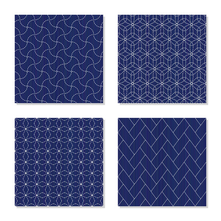 Set of Asian embroidery motifs in Abstract borderless patterns in Four simple textures with White stitches on the indigo blue background For handicraft or decoration.