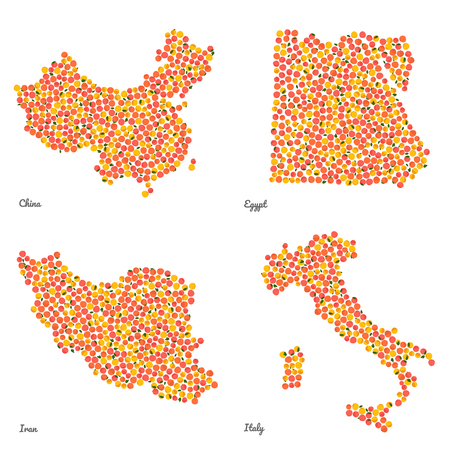 Four country maps made out of pink peaches. Colorful veggie maps. Fruitarian illustration.