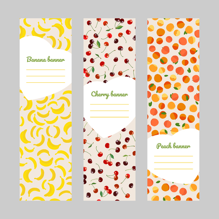 Set of vertical fruit banners. Banana, cherry and peaches. Harvest series. Vegan flyers. Simple design for invitation, postcard or poster.