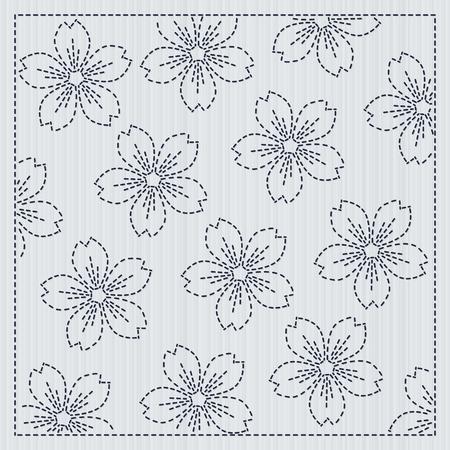 日本の針仕事。桜の花。手仕事のためのサシコフレーム。春の桜の背景。花の背景。キルティングモチーフ。パターンが塗りつぶされます。布地の  イラスト・ベクター素材