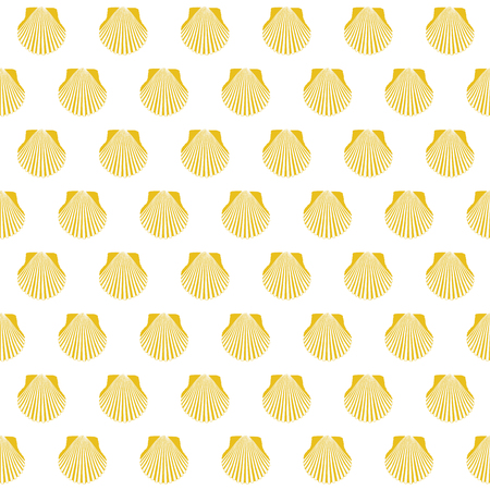 Yellow scallop shell Camino Santiago sign Seamless pattern.