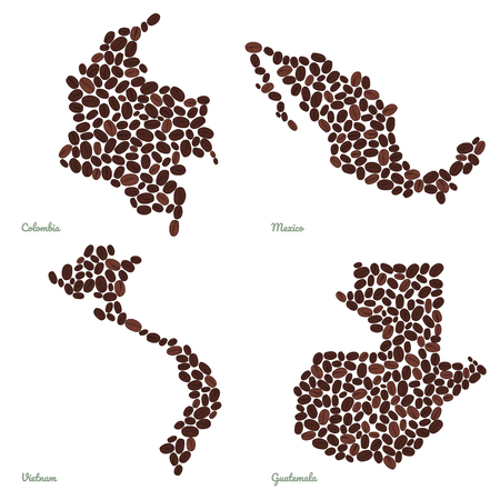 Country maps made out of coffee beans. Vegetarian illustration. Four maps set. Largest coffee producing countries. For illustrators, decoration or info-graphics.